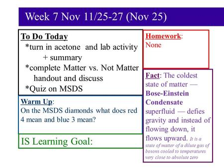Week 7 Nov 11/25-27 (Nov 25) To Do Today *turn in acetone and lab activity + summary *complete Matter vs. Not Matter handout and discuss *Quiz on MSDS.