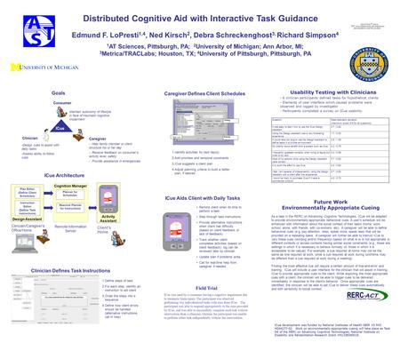 Distributed Cognitive Aid with Interactive Task Guidance Edmund F. LoPresti 1,4, Ned Kirsch 2, Debra Schreckenghost 3, Richard Simpson 4 1 AT Sciences,