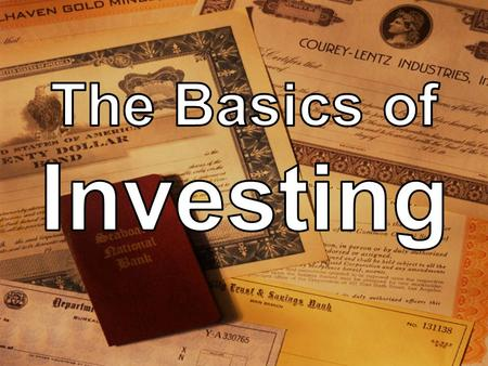 Types of Investments Stocks Bonds Mutual Funds Real Estate Savings/Certificates of Deposit Collectibles.