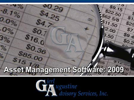 EdgeTech Analytics ASSET MANAGEMENT SOFTWARE: 2008.