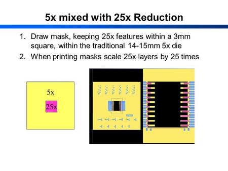 5x mixed with 25x Reduction 1.Draw mask, keeping 25x features within a 3mm square, within the traditional 14-15mm 5x die 2.When printing masks scale 25x.