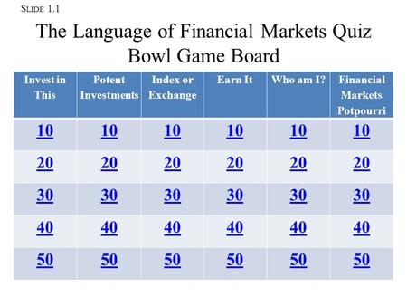 S LIDE 1.1 The Language of Financial Markets Quiz Bowl Game Board Invest in This Potent Investments Index or Exchange Earn It Who am I? Financial Markets.