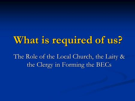 What is required of us? The Role of the Local Church, the Laity & the Clergy in Forming the BECs.
