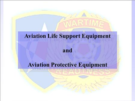 Aviation Life Support Equipment Aviation Protective Equipment