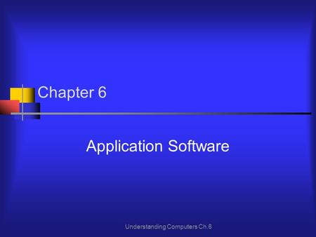 Understanding Computers Ch.6 Chapter 6 Application Software.