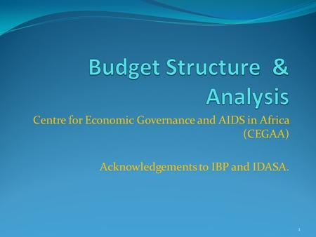 Centre for Economic Governance and AIDS in Africa (CEGAA) Acknowledgements to IBP and IDASA. 1.