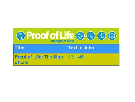TitleText in John Proof of Life: The Sign of Life 11:1-45.