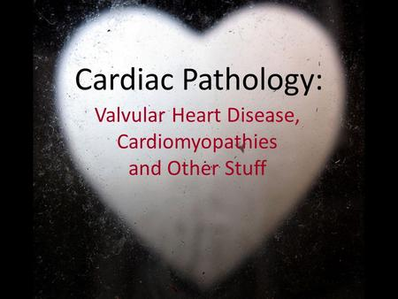Cardiac Pathology: Valvular Heart Disease, Cardiomyopathies and Other Stuff.