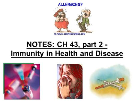 NOTES: CH 43, part 2 - Immunity in Health and Disease.