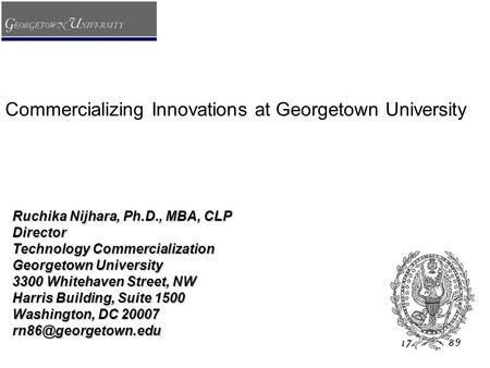 Commercializing Innovations at Georgetown University