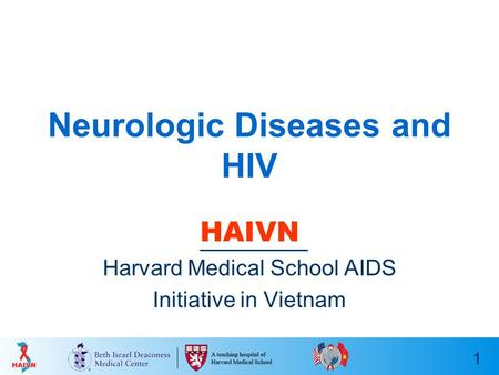 1 Neurologic Diseases and HIV HAIVN Harvard Medical School AIDS Initiative in Vietnam.