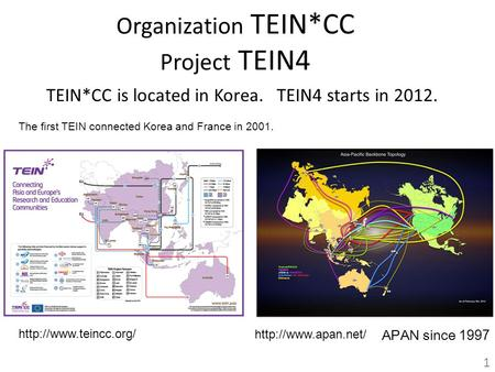 Organization TEIN*CC Project TEIN4 TEIN*CC is located in Korea. TEIN4 starts in 2012. 1  APAN since 1997  The.