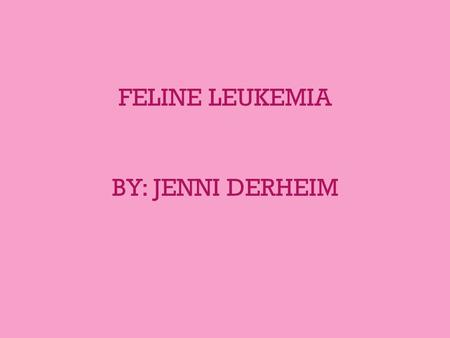 FELINE LEUKEMIA BY: JENNI DERHEIM. FeLV Facts/History 1 st FeLV case was discovered in 1964 in a cluster of cats with lymphosarcomas Major cause of illness.
