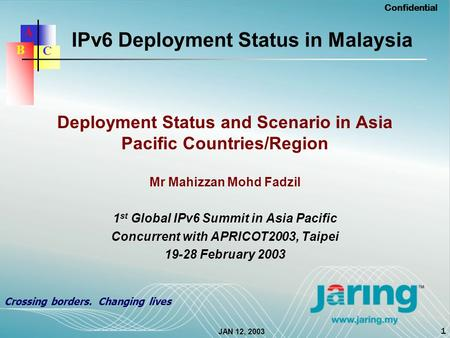 JAN 12, 2003 Confidential 1 Crossing borders. Changing lives A C B IPv6 Deployment Status in Malaysia Deployment Status and Scenario in Asia Pacific Countries/Region.
