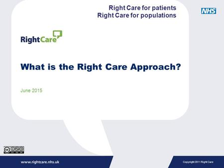 Copyright 2011 Right Care What is the Right Care Approach? June 2015 Right Care for patients Right Care for populations.