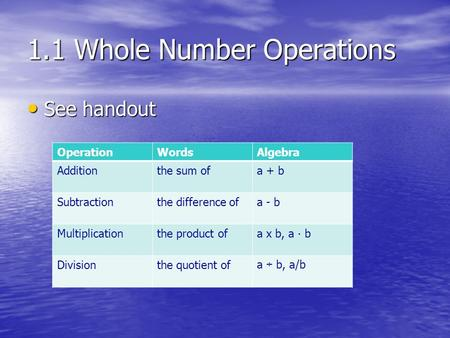 1.1 Whole Number Operations See handout See handout OperationWordsAlgebra Additionthe sum ofa + b Subtractionthe difference ofa - b Multiplicationthe product.