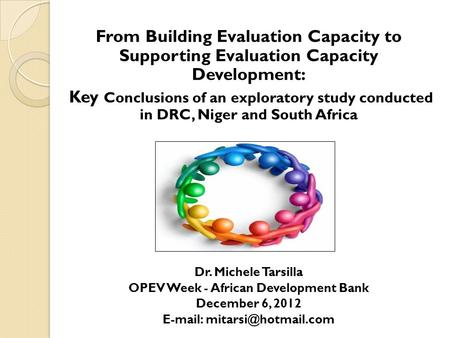 From Building Evaluation Capacity to Supporting Evaluation Capacity Development: Key Conclusions of an exploratory study conducted in DRC, Niger and South.