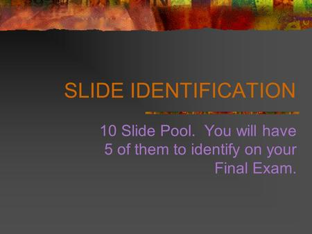 SLIDE IDENTIFICATION 10 Slide Pool. You will have 5 of them to identify on your Final Exam.