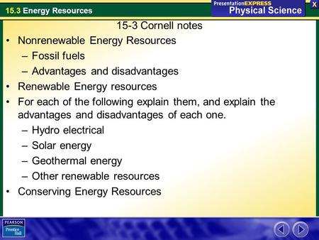 15-3 Cornell notes Nonrenewable Energy Resources Fossil fuels