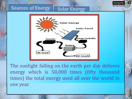 The sunlight falling on the earth per day delivers energy which is 50,000 times (fifty thousand times) the total energy used all over the world in one.