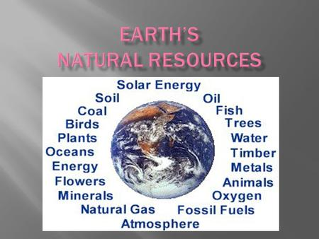  Examples: metals arable land fossil fuels old-growth forests coal oil water power Air Sun crops.