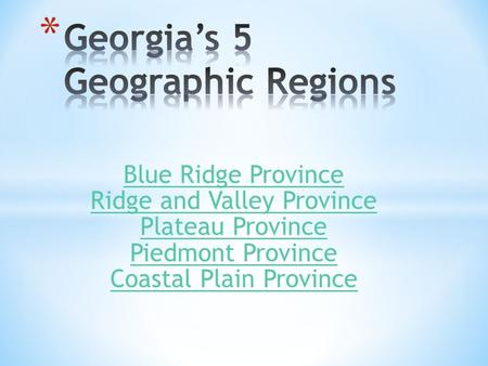 Georgia's 5 Geographic Regions