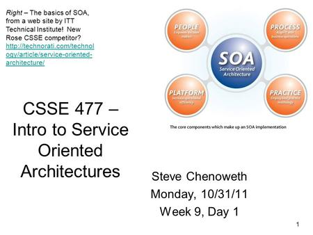 1 CSSE 477 – Intro to Service Oriented Architectures Steve Chenoweth Monday, 10/31/11 Week 9, Day 1 Right – The basics of SOA, from a web site by ITT Technical.