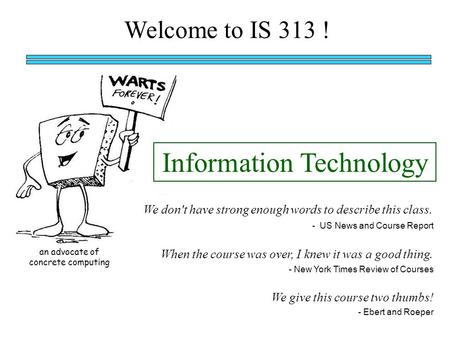Welcome to IS 313 ! When the course was over, I knew it was a good thing. We don't have strong enough words to describe this class. Information Technology.