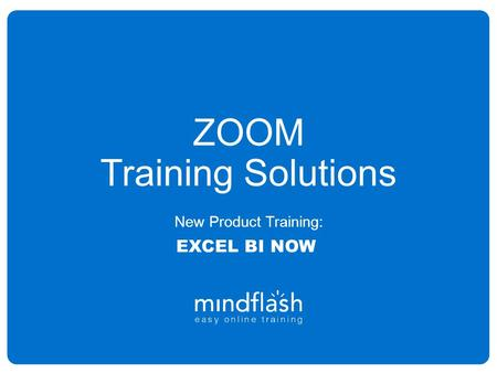 ZOOM Training Solutions New Product Training: EXCEL BI NOW.