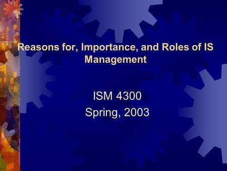Reasons for, Importance, and Roles of IS Management ISM 4300 Spring, 2003.