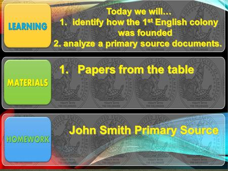Papers from the table John Smith Primary Source