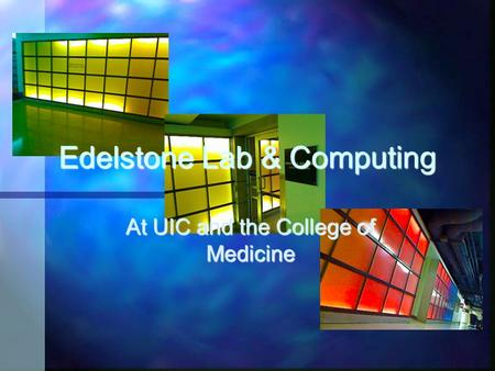 At UIC and the College of Medicine Edelstone Lab & Computing.