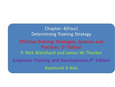 Chapter- 4(Four) Determining Training Strategy Effective Training: Strategies, Systems and Practices, 3 rd Edition P. Nick Blanchard and James W. Thacker.