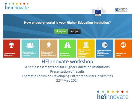 HEInnovate workshop A self-assessment tool for Higher Education Institutions Presentation of results Thematic Forum on Developing Entrepreneurial Universities.