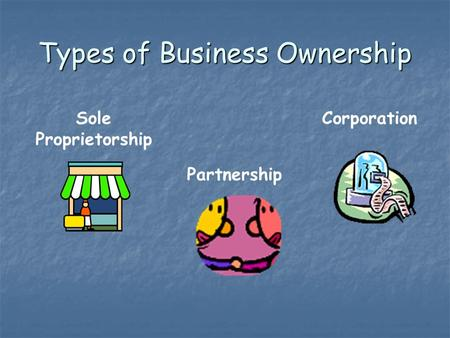 Types of Business Ownership Sole Proprietorship Partnership Corporation.