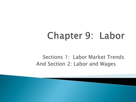 Sections 1: Labor Market Trends And Section 2: Labor and Wages.