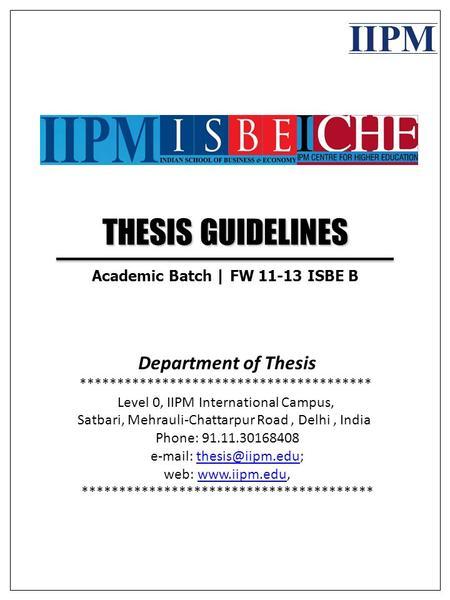 Iipm thesis