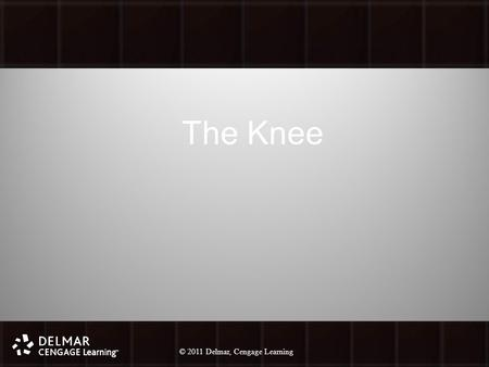 © 2010 Delmar, Cengage Learning 1 © 2011 Delmar, Cengage Learning The Knee.