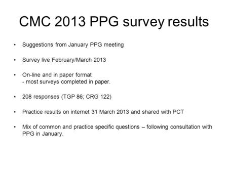 CMC 2013 PPG survey results Suggestions from January PPG meeting Survey live February/March 2013 On-line and in paper format - most surveys completed in.