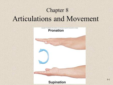8-1 Chapter 8 Articulations and Movement. 8-2 Classification of Joints Structural –Fibrous –Cartilaginous –Synovial Functional –Synarthrosis: non-movable.