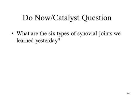Do Now/Catalyst Question