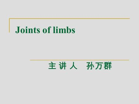Joints of limbs 主 讲 人 孙万群. Ⅰ. Joints of upper limb Ⅰ ) Joints of shoulder girdle 1.Sternoclavicular joint 胸锁关节 1)Composition: sternal end of clavicle,clavicular.