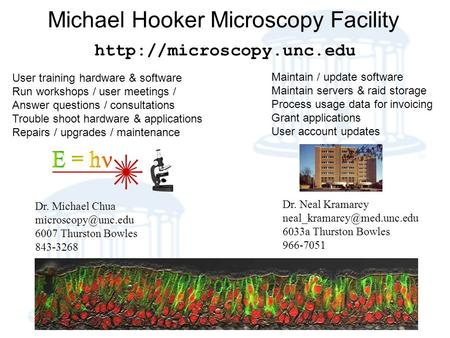 Michael Hooker Microscopy Facility Dr. Michael Chua 6007 Thurston Bowles 843-3268  Dr. Neal Kramarcy