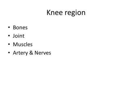 Knee region Bones Joint Muscles Artery & Nerves.
