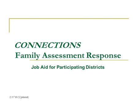 CONNECTIONS Family Assessment Response Job Aid for Participating Districts 2/1710 (Updated)
