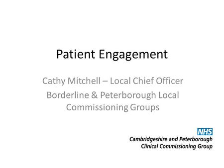 Patient Engagement Cathy Mitchell – Local Chief Officer Borderline & Peterborough Local Commissioning Groups.