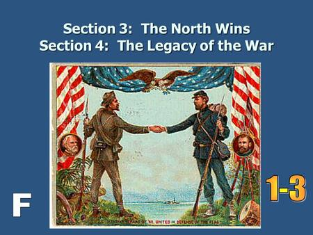 Section 3: The North Wins Section 4: The Legacy of the War.
