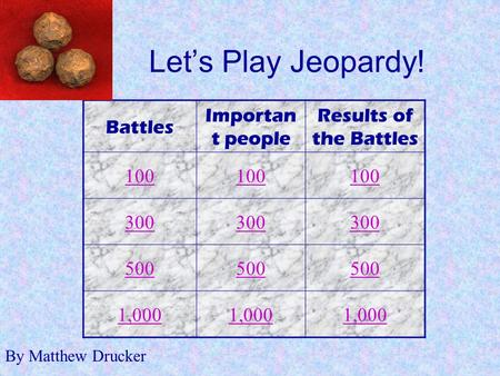 Let's Play Jeopardy! Battles Importan t people Results of the Battles 100 300 500 1,000 By Matthew Drucker.