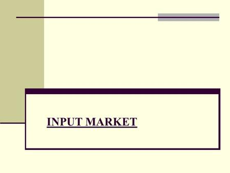 INPUT MARKET. PRICING OF FACTORS OF PRODUCTION The demand for inputs the firm's demand for labor and other inputs is derived indirectly from the consumer.
