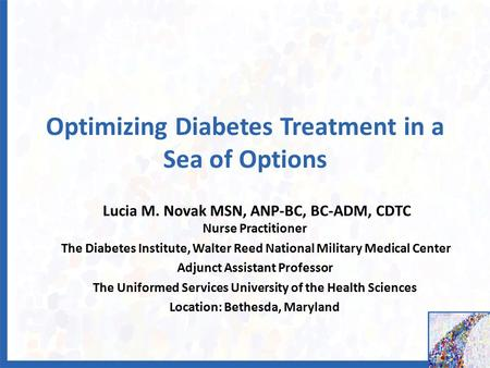 Optimizing Diabetes Treatment in a Sea of Options Lucia M. Novak MSN, ANP-BC, BC-ADM, CDTC Nurse Practitioner The Diabetes Institute, Walter Reed National.